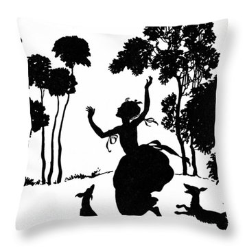 Cinderella Playing With Her Dogs Throw Pillow by Arthur Rackham