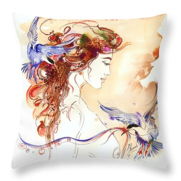 Throw Pillow featuring the painting Cinderella Story by Anna Ewa Miarczynska