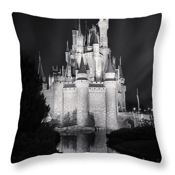 Cinderella's Castle Reflection Black And White Throw Pillow