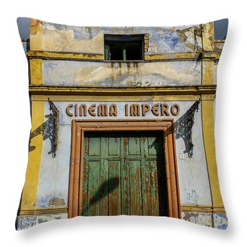 Throw Pillow featuring the photograph Cinema Impero by Glenn DiPaola