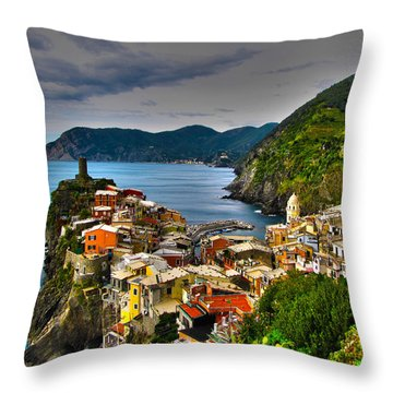 Cinque Terra Throw Pillow by David Gleeson