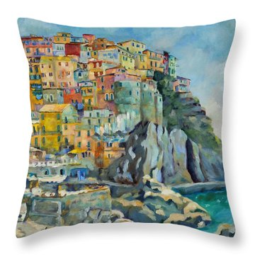 Cinque Terre Throw Pillow by Chris Brandley