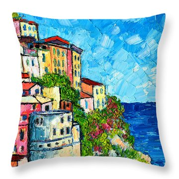 Cinque Terre Italy Manarola Painting Detail 3 Throw Pillow by Ana Maria Edulescu