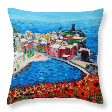 Cinque Terre Vernazza Poppies Throw Pillow