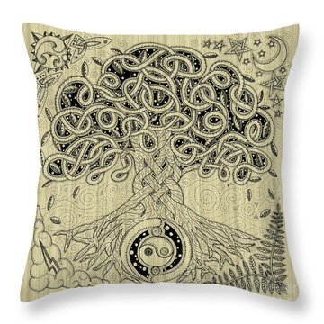 Circle Celtic Tree Of Life Inked Throw Pillow