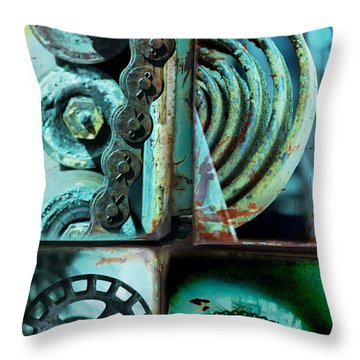 Circle Collage In Blue Throw Pillow