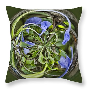 Circle Of Blues Throw Pillow by Anne Rodkin