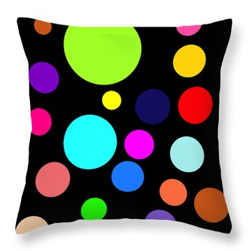 Circles On Black Throw Pillow