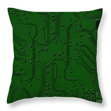 Circuit Board Throw Pillow by Bedros Awak