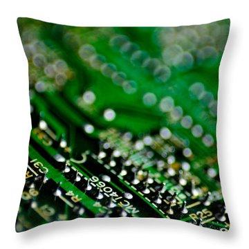 Circuit Board Bokeh Throw Pillow by Amy Cicconi