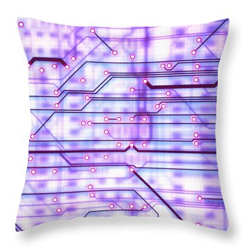 Circuit Trace Throw Pillow by Jerry McElroy