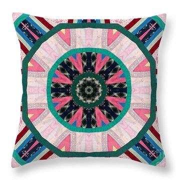 Circular Patchwork Art Throw Pillow by Barbara Griffin