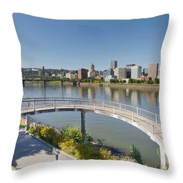 Throw Pillow featuring the photograph Circular Walkway On Portland Eastbank Esplanade by JPLDesigns