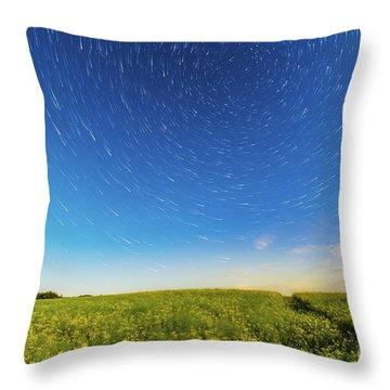 Circumpolar Star Trails Over A Canola Throw Pillow