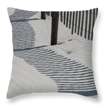 Circus Beach Fence Throw Pillow by Ellen Meakin