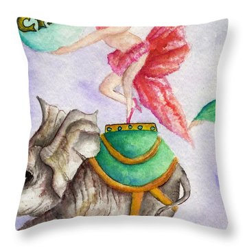 Circus Elephant Throw Pillow
