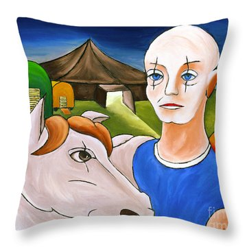 Circus Man And Horse Throw Pillow by William Cain