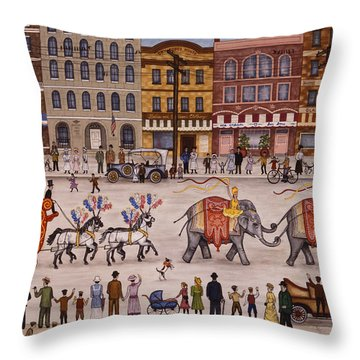 Circus Parade Throw Pillow by Linda Mears