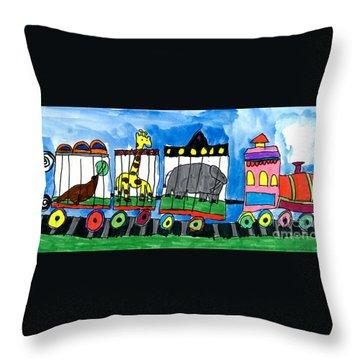 Circus Train Throw Pillow by Max Kaderabek Age Eight