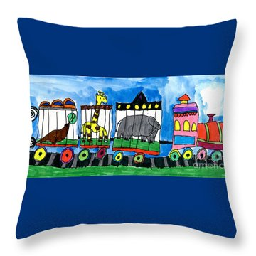 Circus Train Throw Pillow