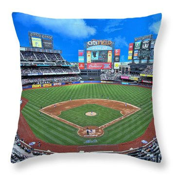 Citi Field - Home Of The N Y Mets Throw Pillow