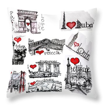 Cities1 Throw Pillow by Sladjana Lazarevic