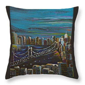 Citiscape Throw Pillow by Donna Blossom