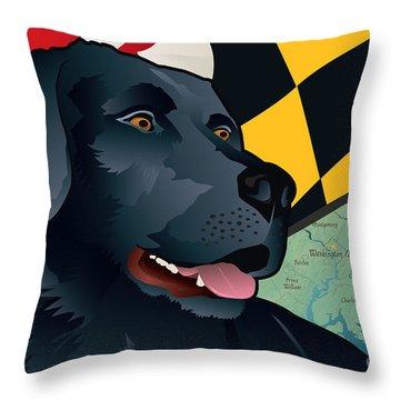 Maryland Black Lab Throw Pillow