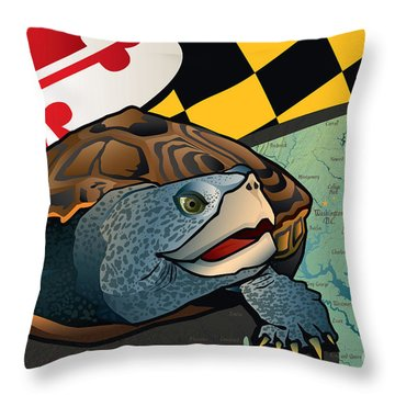 Citizen Terrapin Maryland's Turtle Throw Pillow