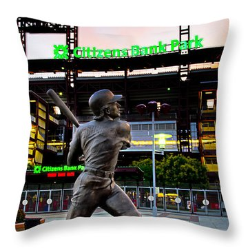 Citizens Bank Park - Mike Schmidt Statue Throw Pillow by Bill Cannon