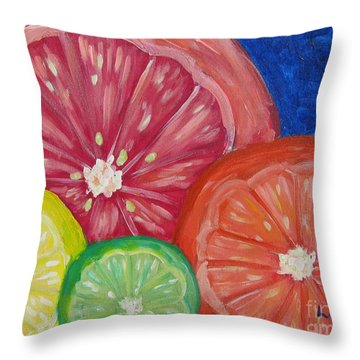 Citrus Slices Throw Pillow by Laurie Morgan