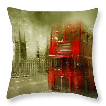 City-art London Red Buses Throw Pillow