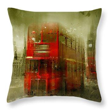 City-art London Red Buses Throw Pillow by Melanie Viola