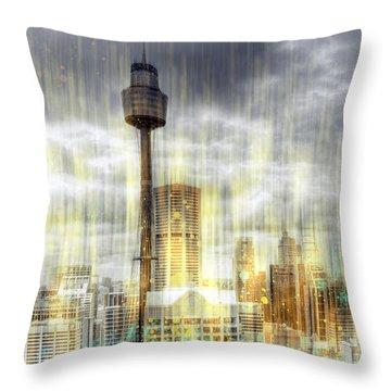 City-art Sydney Rainfall Throw Pillow by Melanie Viola