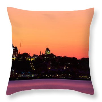 City At Dusk, Chateau Frontenac Hotel Throw Pillow