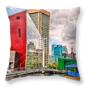 City - Baltimore Md - Harbor Place - Future City  Throw Pillow by Mike Savad