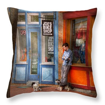 City - Baltimore Md - Waiting By Joe's Bike Shop  Throw Pillow by Mike Savad