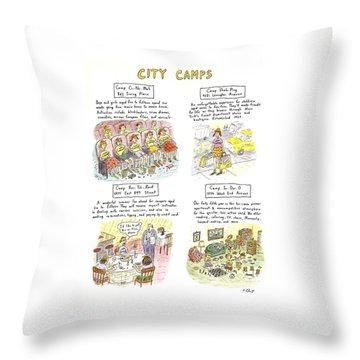 City Camps Throw Pillow