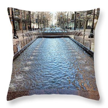 Throw Pillow featuring the photograph City Creek Fountain - 1 by Ely Arsha