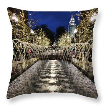Throw Pillow featuring the photograph City Creek Fountain - 2 by Ely Arsha
