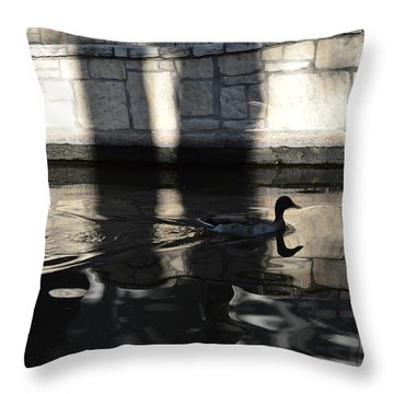 Throw Pillow featuring the photograph City Ducks by Shawn Marlow