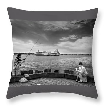 City Fishing Throw Pillow by Bob Orsillo