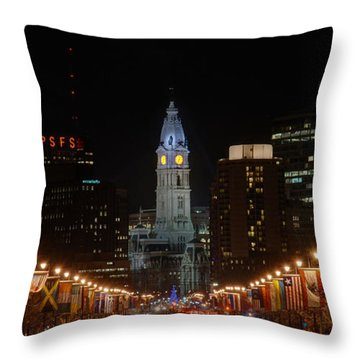City Hall At Night Throw Pillow