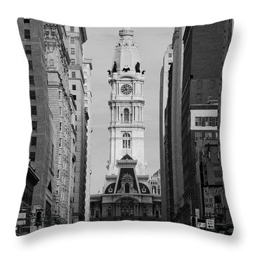 City Hall B/w Throw Pillow