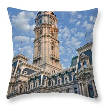 City Hall Clock Tower Downtown Phila Pa Throw Pillow by David Zanzinger