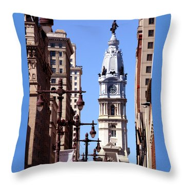 Philadelphia City Hall From Broad St Throw Pillow