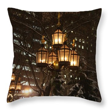 Throw Pillow featuring the photograph City Hall Park Lights by Vadim Levin