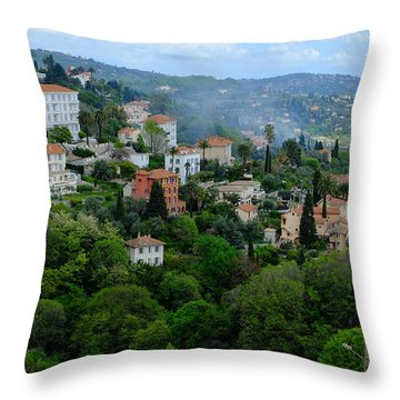 City Hills Of Grasse France Throw Pillow