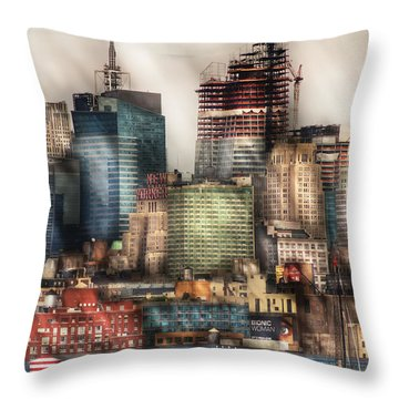 City - Hoboken Nj - New York Skyscrapers Throw Pillow by Mike Savad