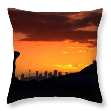 Throw Pillow featuring the photograph City In A Palm Of Rock by Miroslava Jurcik